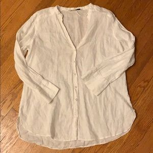 Zara Womens White Linen Shirt-Large